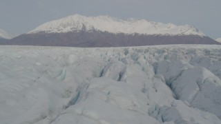 AK0001_0136 - 4K stock footage aerial video fly close to surface of Knik Glacier, Chugach Mountains, Knik Glacier, Alaska