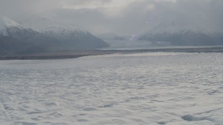 AK0001_0143 - 4K stock footage aerial video Knik Glacier, Inner Lake George, Chugach Mountains, Knik Glacier, Alaska