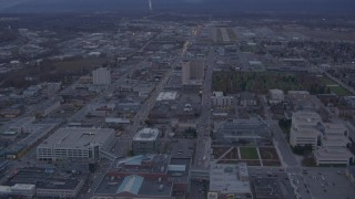 AK0001_0174 - 4K stock footage aerial video Alaska Center for the Performing Arts, Merrill Field, Downtown Anchorage, Alaska