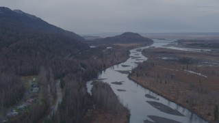 AK0001_0221 - 4K stock footage aerial video flying by the river running along Old Glenn Highway, Knik River, Alaska