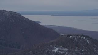 AK0001_0228 - 4K stock footage aerial video flying by Birchwood, seen from Chugach Mountains, Birchwood, Alaska