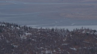 AK0001_0230 - 4K stock footage aerial video Palmer Slough, Knik Arm of the Cook Inlet, Chugach Mountains, Birchwood, Alaska