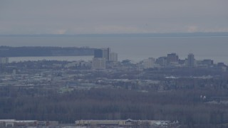 AK0001_0240 - 4K stock footage aerial video flying by Downtown, Anchorage, Alaska