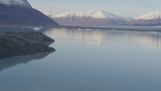 AK0001_0283 - 4K stock footage aerial video a seaplane on the lake, Chugach Mountains, Inner Lake George, Alaska