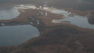 AK0001_0292 - 4K stock footage aerial video Three lakes and a narrow river, Jim Lake, Alaska