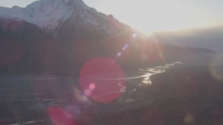 AK0001_0300 - 4K stock footage aerial video snow capped Chugach Mountain, Butte end of Knik River Valley, Alaska