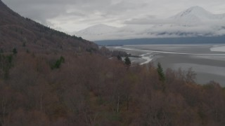 AK0001_0358 - 4K stock footage aerial video flying low over train tracks, trees, revealing Turnagain Arm of the Cook Inlet, Alaska