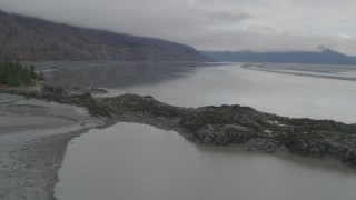 AK0001_0365 - 4K stock footage aerial video approaching Chugach Mountain, Turnagain Arm of the Cook Inlet, Alaska