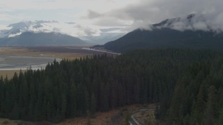 AK0001_0377 - 4K stock footage aerial video flying over trees in the forested foothills, Portage, Alaska