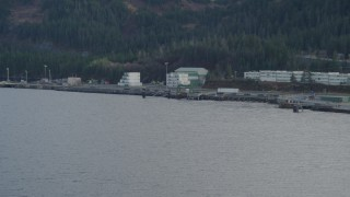 AK0001_0397 - 4K stock footage aerial video flying low over the bay, approaching the dock, Whittier, Alaska