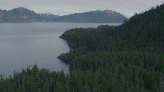 AK0001_0405 - 4K stock footage aerial video forested shoreline of the canal, Prince William Sound, Passage Canal, Alaska