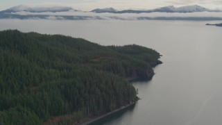 AK0001_0428 - 4K stock footage aerial video fly over forested shore of the sound, approaching bay, Prince William Sound, Alaska