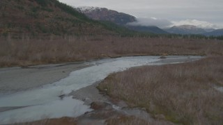 AK0001_0454 - 4K stock footage aerial video flying low over river through grassland to shore, Prince William Sound, Alaska