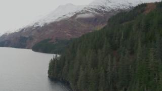 AK0001_0464 - 4K stock footage aerial video flying along the coastline of the bay, tilting down, Blackstone Bay, Alaska