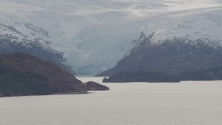 AK0001_0466 - 4K stock footage aerial video part of a glacier and an island, Blackstone Bay, Alaska