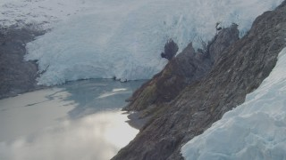 AK0001_0479 - 4K stock footage aerial video ascending edge of the glacier, Blackstone Bay, Alaska