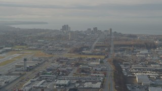 AK0001_0582 - 4K stock footage aerial video approaching Downtown Anchorage, Alaska
