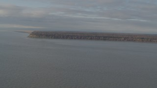 AK0001_0593 - 4K stock footage aerial video flying over Knik Arm of the Cook Inlet, approaching Point MacKenzie, Alaska