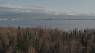 AK0001_0597 - 4K stock footage aerial video fly low over grassland, trees reveal Downtown Anchorage, Point MacKenzie, Alaska