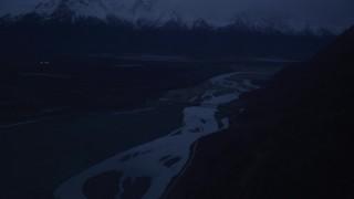 AK0001_0616 - 4K stock footage aerial video Old Glenn Highway, reveal Old Glenn Highway Bridge, Knik River, Alaska, sunrise
