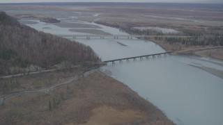 AK0001_0621 - 4K stock footage aerial video the Glenn Highway Bridge, train bridge, spanning the Knik River, Alaska