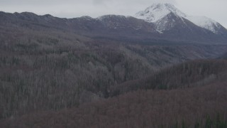 AK0001_0626 - 4K stock footage aerial video approaching deep gorge, wooded valley, Chugach Mountains, Birchwood, Alaska