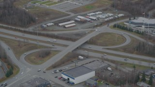 AK0001_0664 - 4K stock footage aerial video Artillery Road/GlennHighway overpass, Eagle River, Alaska