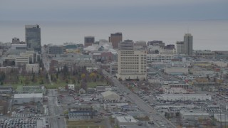 AK0001_0674 - 4K stock footage aerial video ascend from Merrill Field, approaching Downtown Anchorage, Alaska