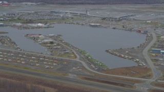 AK0001_0678 - 4K stock footage aerial video Lake Hood Seaplane Base, Ted Stevens Anchorage International Airport, Anchorage, Alaska