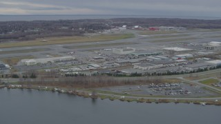 AK0001_0679 - 4K stock footage aerial video Lake Hood Seaplane Base, Ted Stevens Anchorage International Airport, Anchorage, Alaska