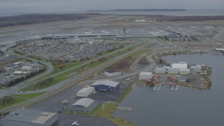 AK0001_0680 - 4K stock footage aerial video Lake Hood Seaplane Base, Ted Stevens Anchorage International Airport, Anchorage, Alaska