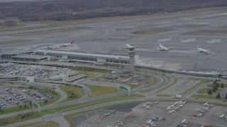 AK0001_0681 - 4K stock footage aerial video flying by Ted Stevens Anchorage International Airport, Anchorage, Alaska