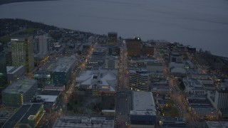 AK0001_0728 - 4K stock footage aerial video West 5th Ave to Knik Arm of the Cook Inlet, Downtown Anchorage, Alaska, twilight