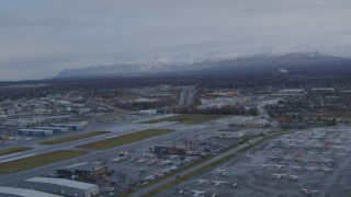 AK0001_0738 - 4K stock footage aerial video flying over Merrill Field, Anchorage, Alaska