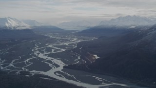 AK0001_0788 - 4K stock footage aerial video a view of the Knik Glacier, snowy Chugach Mountains, Knik River Valley, Alaska