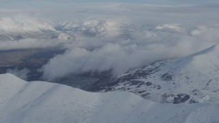 AK0001_0818 - 4K stock footage aerial video Matanuska River Valley, Talkeetna Mountains, snowy Chugach Mountains, Alaska