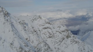 AK0001_0833 - 4K stock footage aerial video Matanuska River Valley, Talkeetna Mountains, snowy Chugach Mountains, Alaska