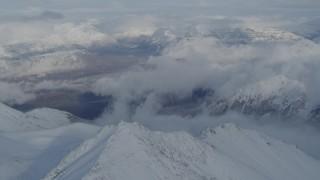 AK0001_0834 - 4K stock footage aerial video Matanuska River Valley, Talkeetna Mountains, snowy Chugach Mountains, Alaska
