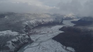 AK0001_0849 - 4K stock footage aerial video King Ranch overlooking the Matanuska River, Sutton, Alaska