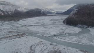 AK0001_0851 - 4K stock footage aerial video descend between Chugach, Talkeetna Mountains, Matanuska River Valley, Alaska