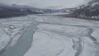 AK0001_0855 - 4K stock footage aerial video flying over icy Matanuska River Valley, Alaska