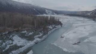 AK0001_0858 - 4K stock footage aerial video following the Matanuska River Valley, Alaska