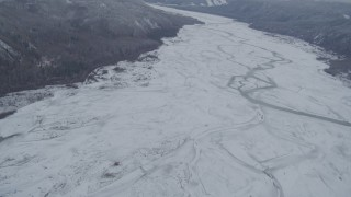 AK0001_0867 - 4K stock footage aerial video flying over the snow-covered The Matanuska River Valley, Alaska