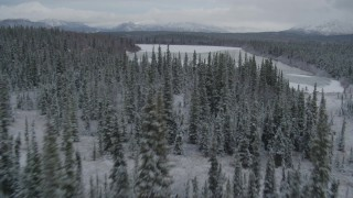 AK0001_0869 - 4K stock footage aerial video flying over snow covered forest during winter toward center of Bench Lake, Alaska