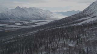 AK0001_0891 - 4K stock footage aerial video flying down wooded hills toward the snowy Tazlina River Valley, Alaska