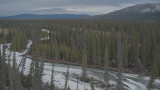 AK0001_0894 - 4K stock footage aerial video fly over frozen rivers, ponds, forest during winter, Tazlina River Valley, Alaska