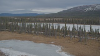 AK0001_0895 - 4K stock footage aerial video fly over frozen rivers, ponds, and forest in winter, Tazlina River Valley, Alaska