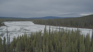 AK0001_0898 - 4K stock footage aerial video river, trees, reveal frozen, snow covered riverbed, during winter, Tazlina River Valley, Alaska