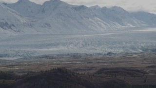 AK0001_0914 - 4K stock footage aerial video approaching snow-covered Chugach Mountains, Tazlina Glacier, Alaska