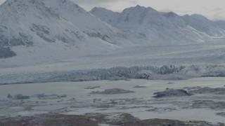 AK0001_0915 - 4K stock footage aerial video flying by snow covered Chugach Mountains, Tazlina Glacier, Alaska
